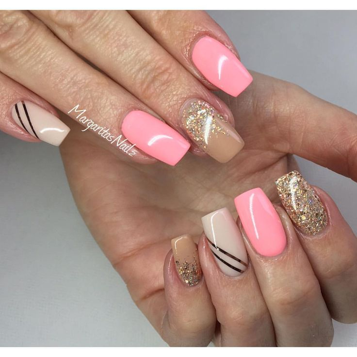 Nude and coral spring nails 2016