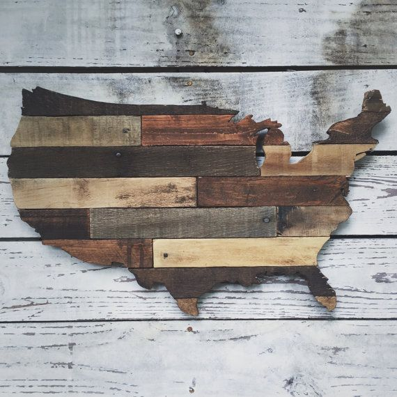 Rustic wooden USA cutout made from pallet wood por crtcreative