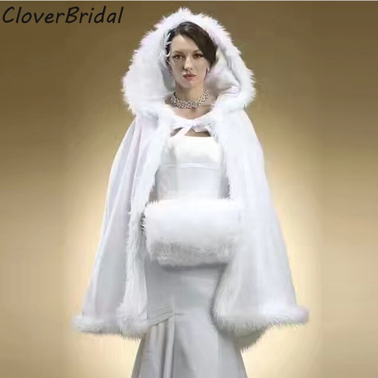 >> Click to Buy << Hooded Bridal Cape Ivory Long Wedding Cloaks 2017 Faux Fur Winter Wedding Accressories Bridal Wraps Cloak #Affiliate