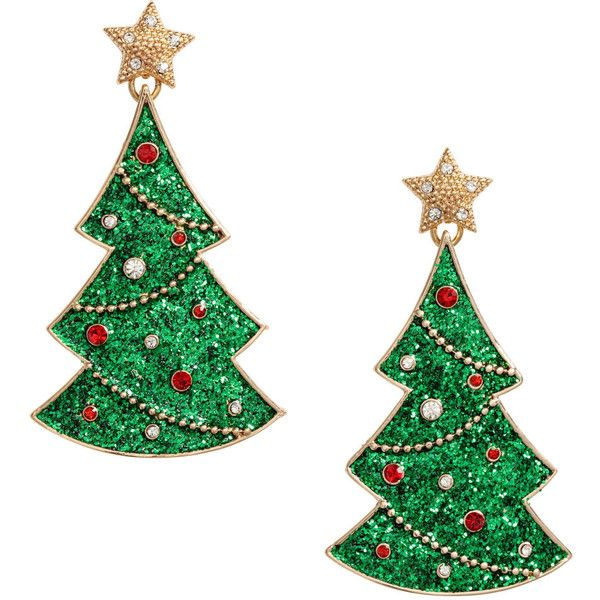 Christmas Earrings $12.99 ($13) ❤ liked on Polyvore featuring jewelry, earrings, christmas tree earrings, rhinestone jewelry, gold tone earrings, long rhinestone earrings and earring jewelry