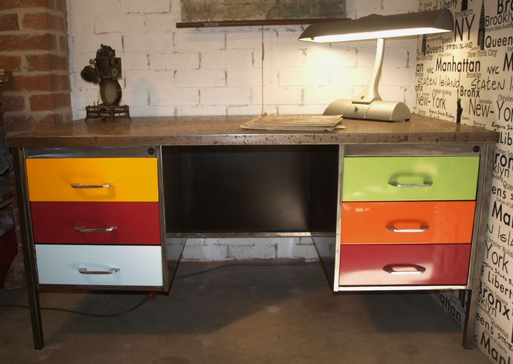 Retro Styled Metal Twin Pedestal Desk featuring bright acrylic draws and polished steel top and cabinet