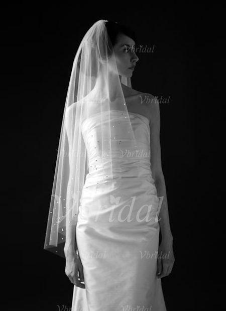 Brautschleier - $22.99 - Zweischichtig Fingerspitze Braut Schleier mit Schnittkante (00605003637)