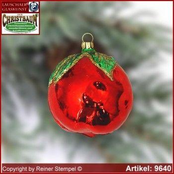 Christbaumschmuck Weihnachtsdekoration Blumenstäbe aus Glas Onlineshop Markenqualität Lauschaer Glaskunst ® - Christbaumschmuck Apfel Glasform Sammlerstücke