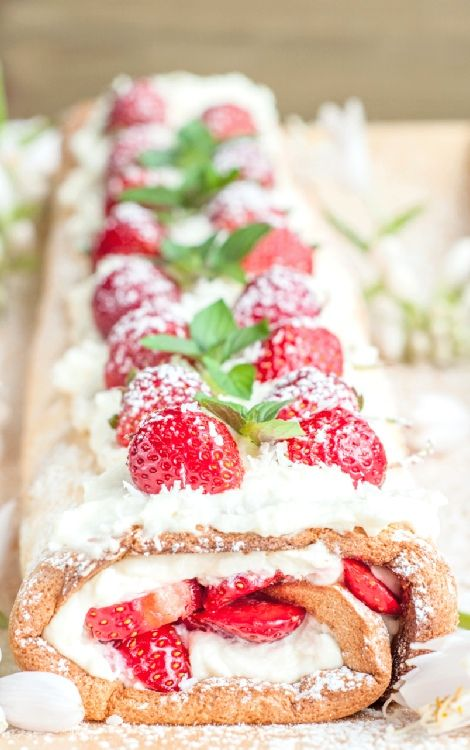Low FODMAP and Gluten Free Recipes - Lemon and strawberry roulade ----- http://www.ibssano.com/low_fodmap_recipe_lemon_strawberry_roulade.html