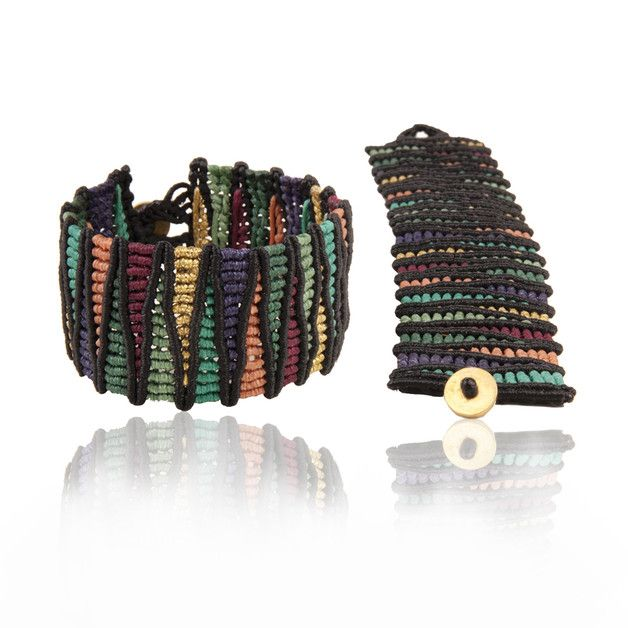 Colourful handmade wristband,unique design by LIHIA. Made of superior quality waxed thread with timeless durability and perfect appearance. Unique piece for girls with sensitive...