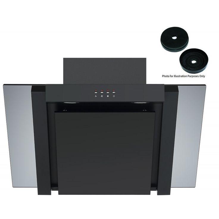 Cookology 70cm Angled Glass Kitchen Chimney Cooker Hood in Black & Carbon Filters