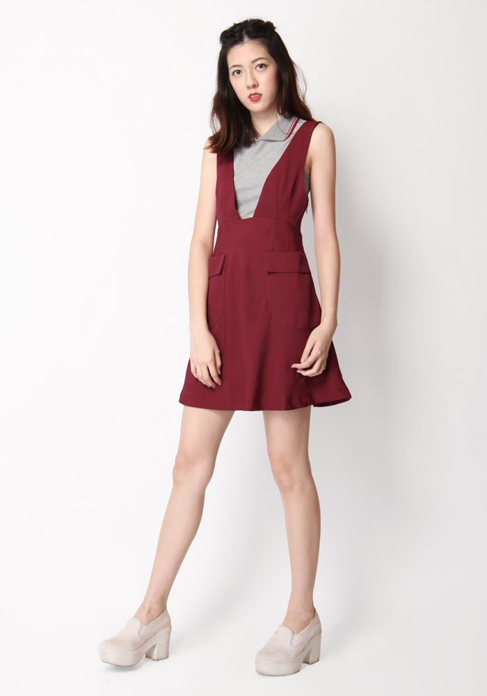 UPPER EAST SKIRT PINAFORE IN WINE