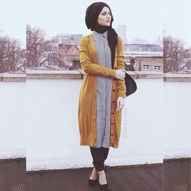 Black Modal Hijab + Check Shirt Dress + Mustard Maxi Cardigan  | INAYAH  www.inayahcollection.com #inayah#modestfashion