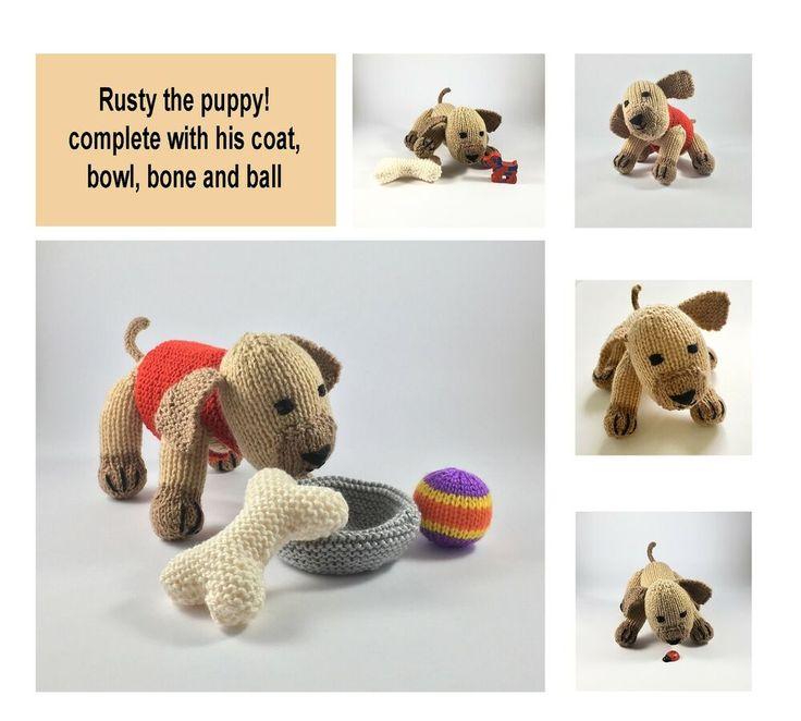 RUSTY PUPPY DOG TOY KNITTING PATTERN KNITTED PUPPY PATTERN ...