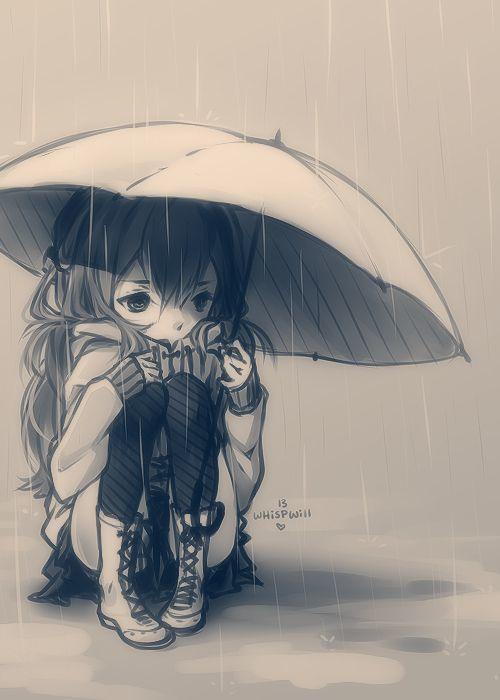 Untitled sad - Cartoon girl sitting alone ...