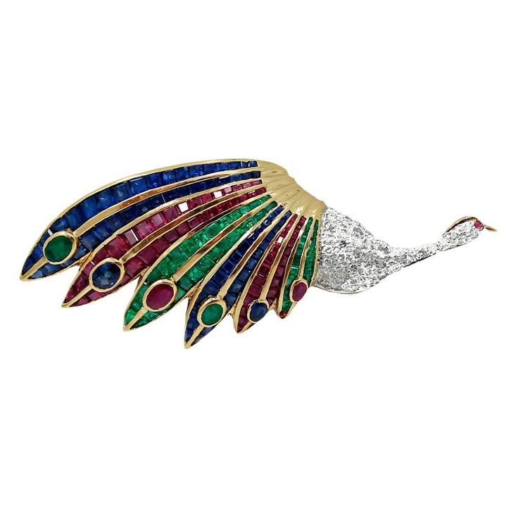 Emerald Ruby Sapphire Diamond Gold Peacock Brooch | From a unique collection of vintage brooches at https://www.1stdibs.com/jewelry/brooches/brooches/