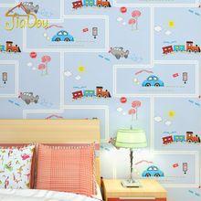 Cartoon Environmental Protection Non Woven Wall Paper Children S Room Blue Stripe Car Wallpaper Boys And