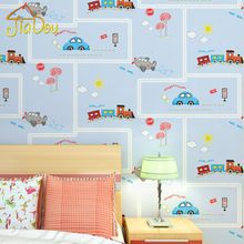 Cartoon Environmental Protection Non Woven Wall Paper Children S Room Blue Stripe Car Wallpaper Boys And
