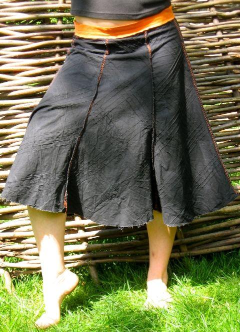 Fekete-narancssárga harangszoknya, Ruha, divat, cipő, Női ruha, Szoknya, Varrás, Meska