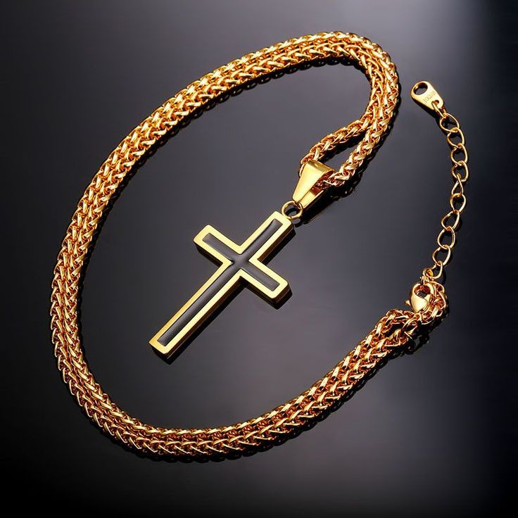 Cross Necklace & Pendant Christian Jewelry 316L Stainless Steel Gold Plated Chain Cross Necklace Men