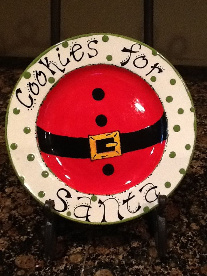 Fun Christmas cookies for Santa plate! & 250 best Pottery painting - christmas images on Pinterest ...