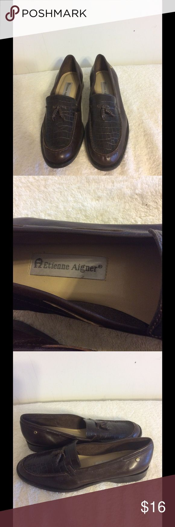 Etienne Aigner Leather Shoes Etienne Aigner Leather Shoes with tassel on front and aligator look on front with leather rope tie running around body of shoe to tassel Etienne Aigner Shoes Flats & Loafers