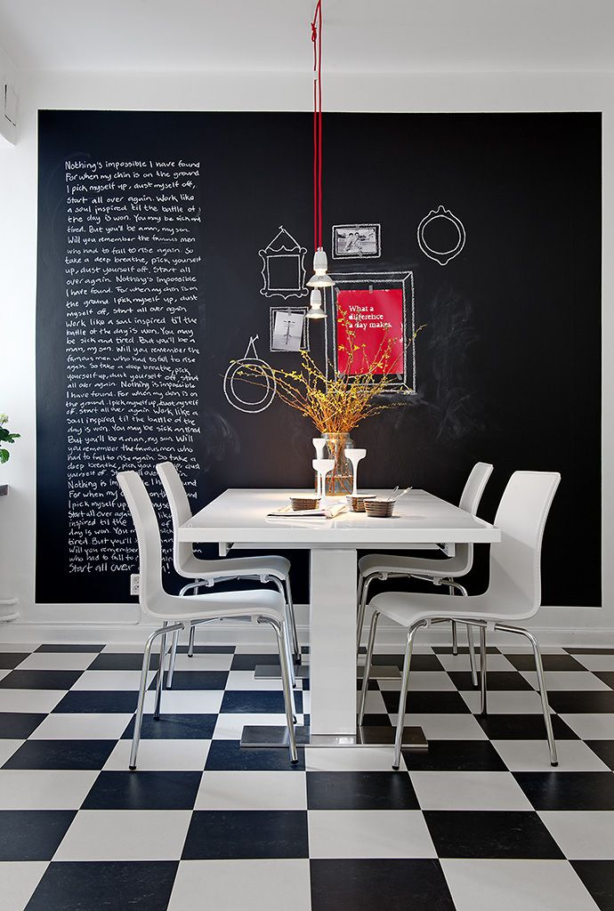 Kitchen w chalkboard Wall and checkered floor