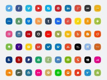60 icônes réseaux sociaux