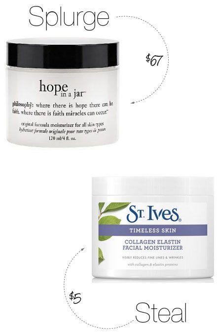 Beauty Splurge vs. Steal of the Week: Philosophy Hope In a Jar vs St. Ives Timeless Skin Collagen Elastin Facial Moisturizer