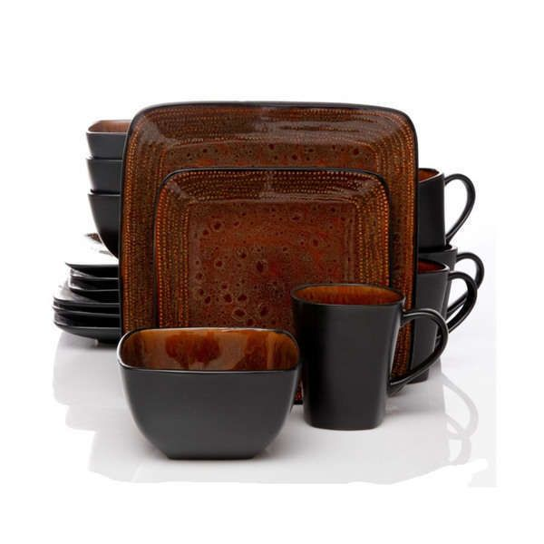 Two Tone Black and Brown 16 Piece Dinnerware Set Square Stoneware Four Setting #Gibson