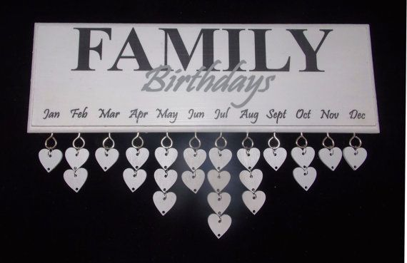 Family Birthday Reminder Plaque Board by PaperjackUK on Etsy