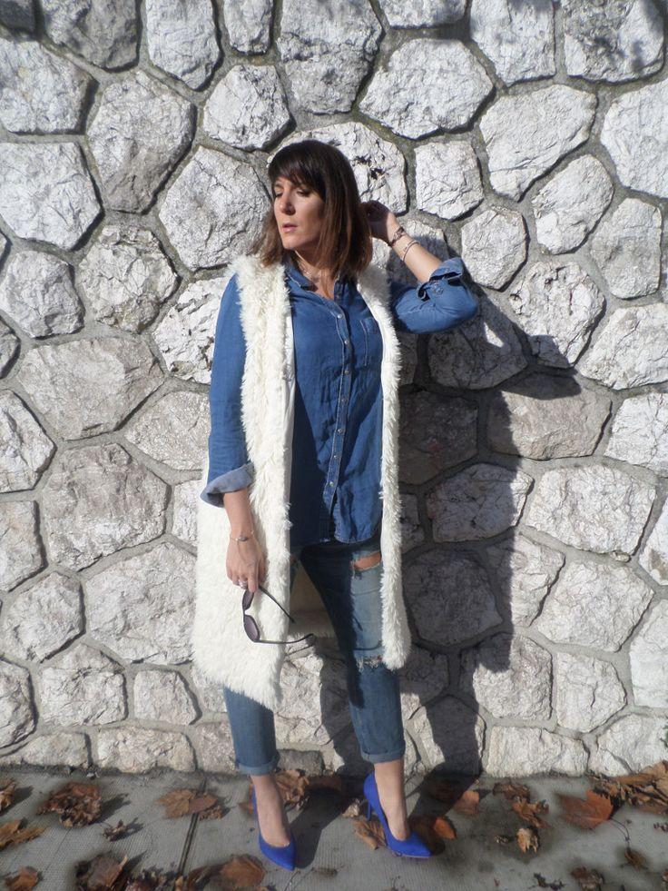 All Denim & Faux Fur escarpins bleu électrique perfect heels/pumps @lifestylebyceline
