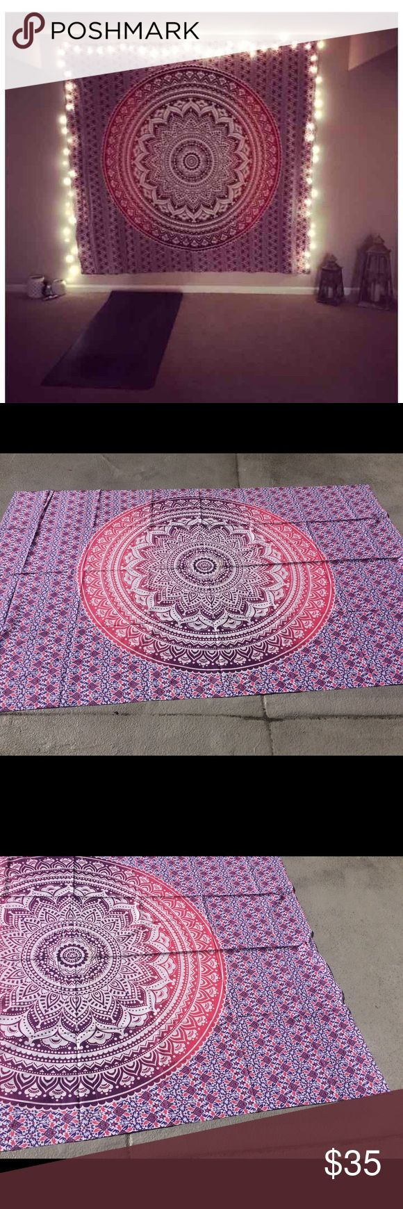 "🎁handmade Multiuse Tapestry Mandala decor🎉 Brand new.Handmade with natural dyes.   Uses: bed spread, couch spread, curtains, wallhangings, Celling decor, beach mat, picnic mat, table cloth, yoga & meditation.  Size: 90"" X 84"" inch ( Queen bed)   Material;100% Cotton  Wash: cold wash   #festival #bohohome #bohochic #bohostyle #hippylife #hippiekid #gypsylife #tapestry #mandala #yogamat #mandala #burningman, #birthdaygift, #beachtowel #bedspread #walldecor #gift #boho #hippy #gypsy…"