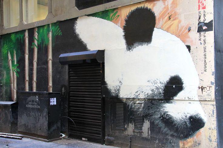 Street Art w Glasgow - Panda Wielka, autor: Klingatron