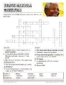 Free Nelson Mandela Worksheets, Crossword Puzzle