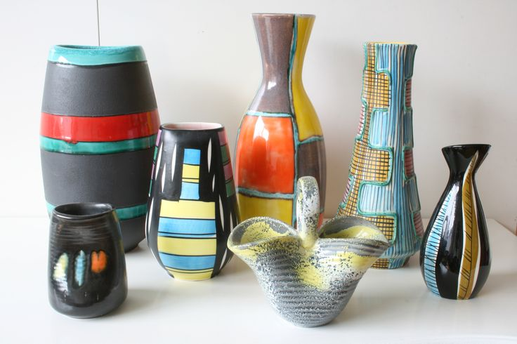 Collection West Germany vases by SMF Schramberg from the 1950s, design by Elfi Stadler & Ferdinand Langenbacher
