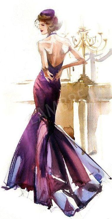 Bordeau dress   Fashion illustration   ◆F&I◆
