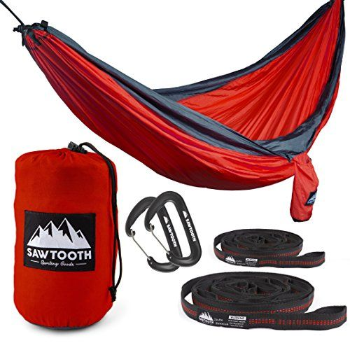Sawtooth Double Hammock with FREE Tree Straps and Wire Gate Carbiners - Parachute Nylon with Utility Loops and Storage pocket - Portable and Lightweight Camping Hammock (Orange)