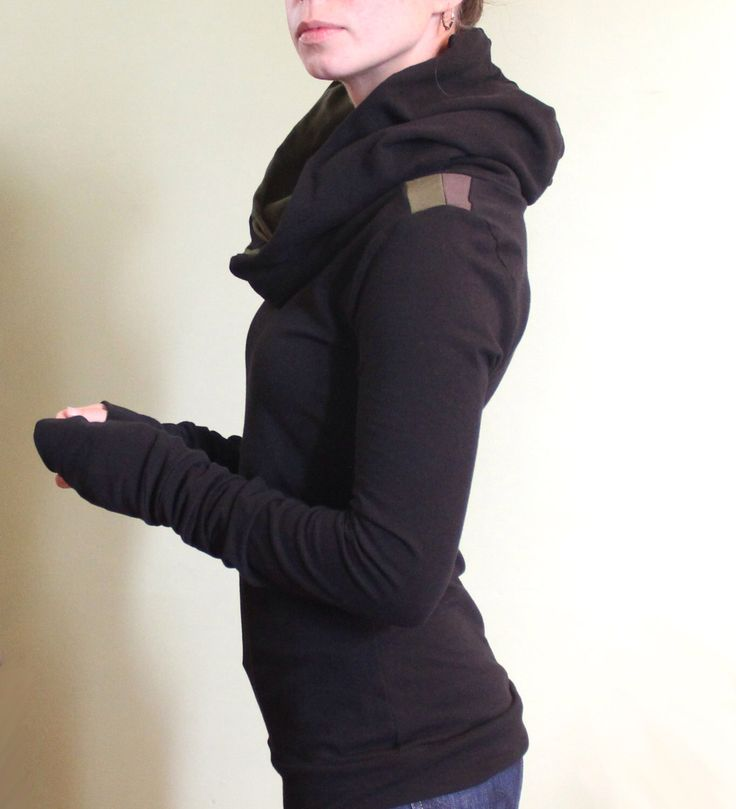 extra long sleeved hooded top/colorblock shoulders/Black with Olive/Cement by joclothing on Etsy https://www.etsy.com/listing/157506225/extra-long-sleeved-hooded-topcolorblock