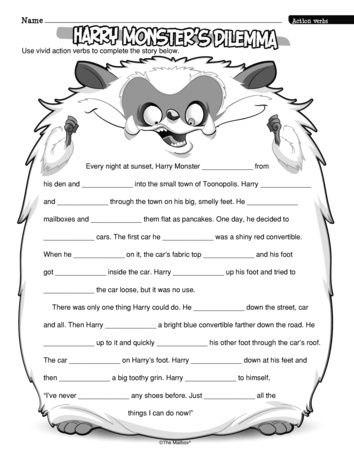 Students complete this story by choosing their own vivid verbs. Be sure to set aside time for students to share the monster tales they create! A Halloween freebie from TheMailbox.