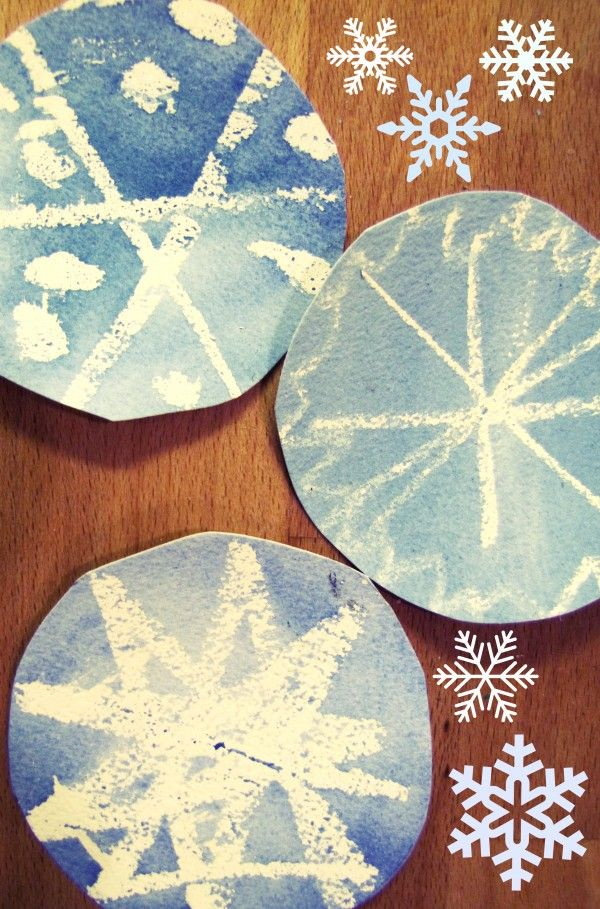 watercolor, crayon resist snowflakes