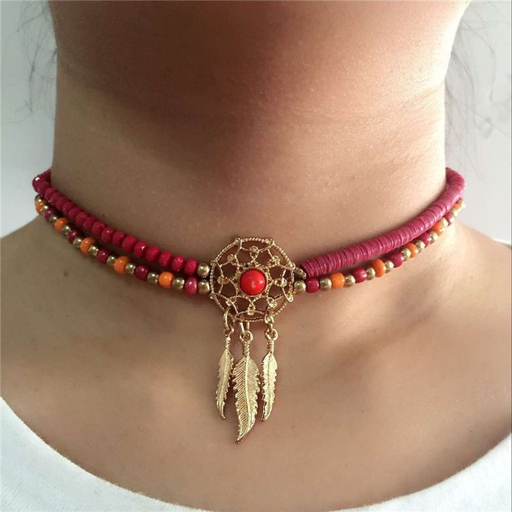 Fashion Dream Catcher Jewelry – Meticulously Handmade, Beaded Feather Collar Chocker Necklaces, 4 Variants