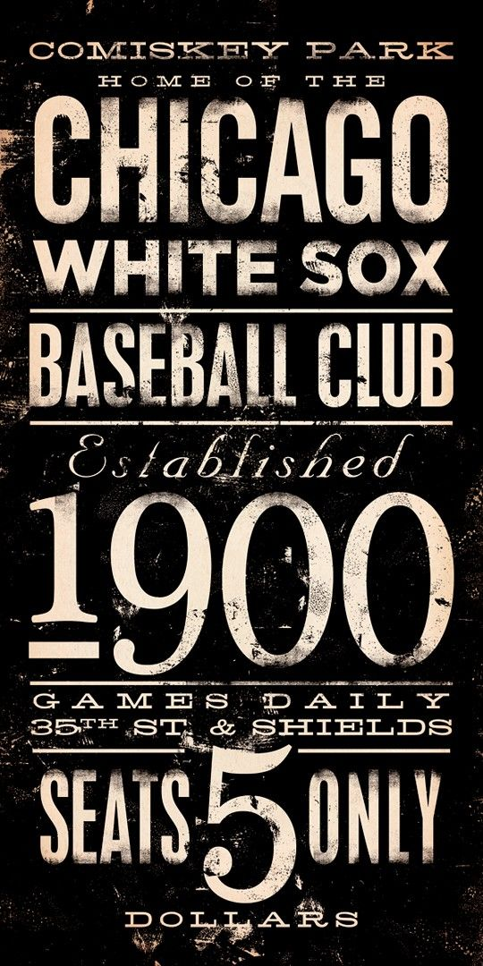 Chicago White Sox baseball club typography graphic art on canvas 10 x 20 by…