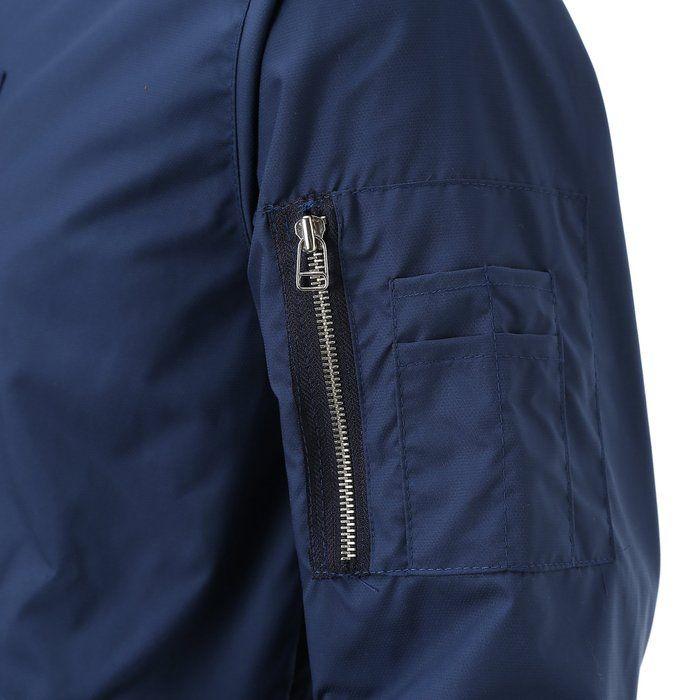 Majeclo Men's Snap Pocket Ma-1 Flight Lightweight Jacket (Large, Light Navy)