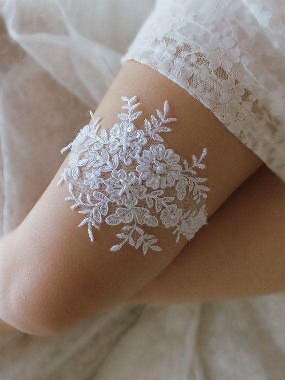 Jarretelles en dentelle blanche, jarretelles de mariage, jarretières de mariée, jarretière lancer