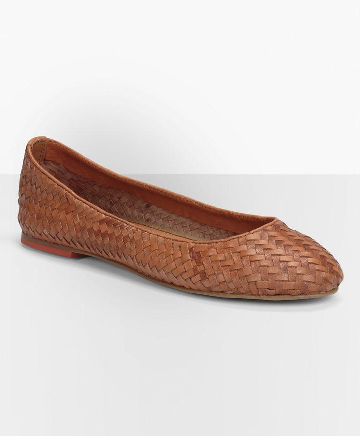 levi s braided leather ballerina flats light brown