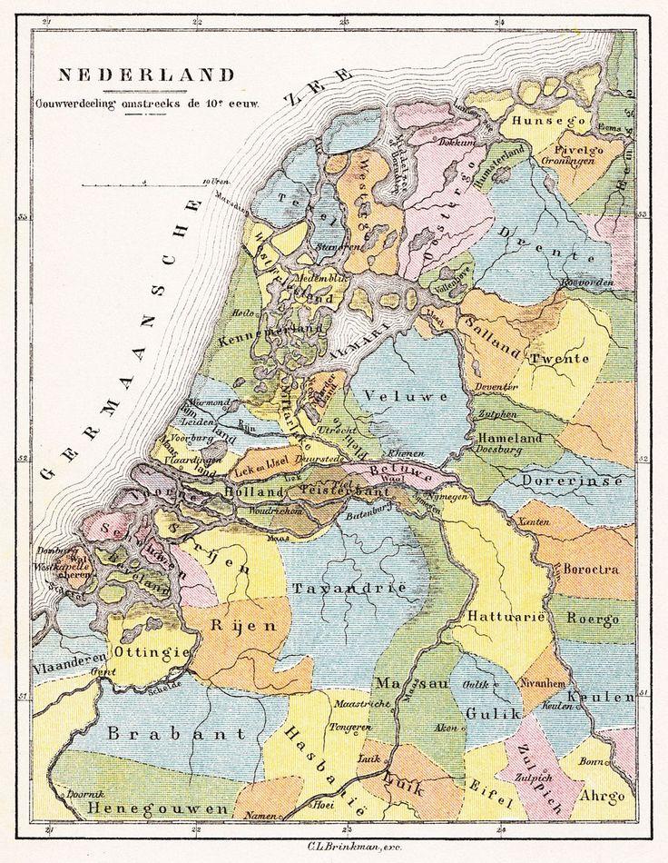 Gereconstrueerde gouwkaart uit 1890 van de indeling van Nederland en omstreken in gouwen in de 10e eeuw