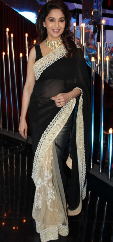 USD 111.11 Madhuri Dixit in Black Saree with Anil Kapoor Jalak Dikhlaja Stage 27978