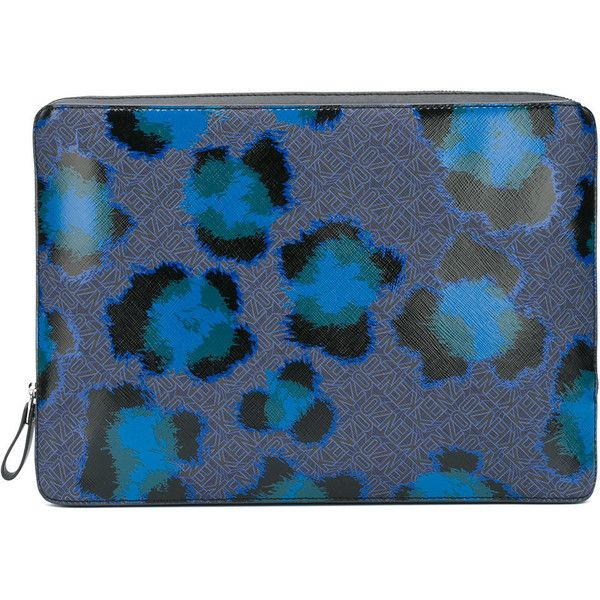 Kenzo leopard print laptop case ($340) ❤ liked on Polyvore featuring men's fashion, men's accessories, men's tech accessories and blue