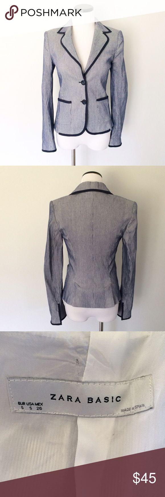 ZARA Navy blue white striped Blazer Jacket Worn once. Navy blue and white blazer. Two buttons on front. White lining. Zara Jackets & Coats Blazers
