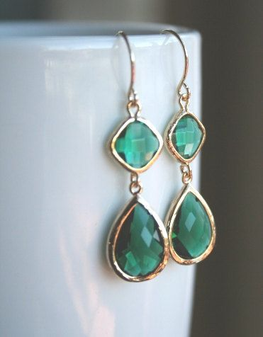 Emerald Earrings in Gold. Green Earrings. Dark Green Earrings. Bridesmaids Earrings. Bridesmaids Gift. Wedding Earrings.. $33.00, via Etsy.