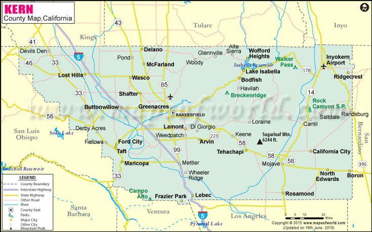 kern county map map of kern county california