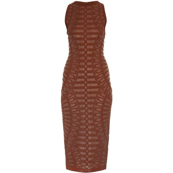 Balmain Spine intarsia-knit dress (£1,130) ❤ liked on Polyvore featuring dresses, brown, knit midi dress, holiday party dresses, bodycon party dresses, body con dress and bodycon midi dress