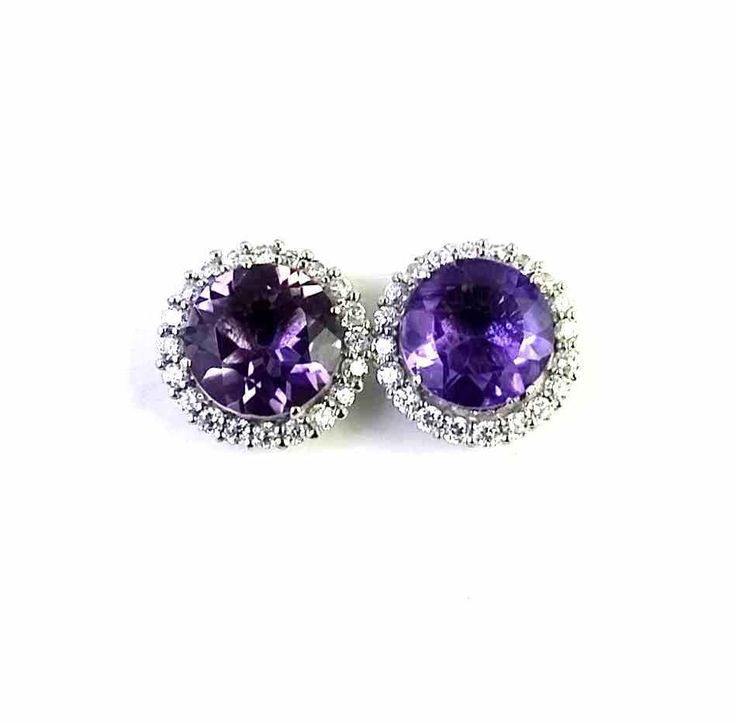 FREE SHIPPING 925 SOLID STERLING SILVER NATURAL AMETHYST GEMSTONE STUDS/TOPS #SilvexStore #Stud