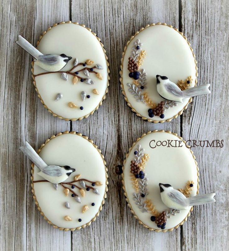 You can actually eat these?! Wow! I'll Impress every single guest at my next tea party with these unique, delicate tea cookies in such soft, elegant colors. They must taste as good as they look! tea party | tea desserts | bird motif | oval cookies | bird on branch